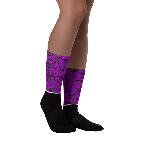 Purple Halloween spider Web Socks