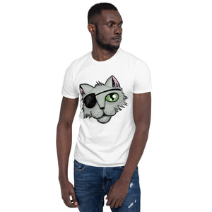 Cartoon Pirate Cat Short-Sleeve Unisex T-Shirt for Men and Women