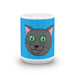 Happy Grey Cat Mug