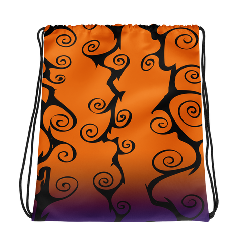 Spooky Halloween Colors Drawstring bag swirl pattern gift for goth