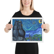 Load image into Gallery viewer, Starry Kitties Parody of Starry Night Framed poster