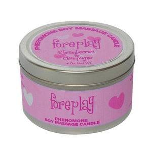 Pheromone Soy Massage Candle, Foreplay, Strawberry & Champagne, 4 Oz Net Wt., Tin