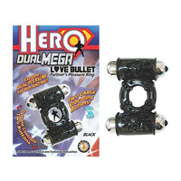 Hero Dual Mega Love Bullet Cockring (Black)