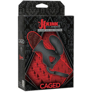 Kink Vibrating Silicone Cock Cage with Ball Strap Black