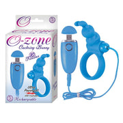 Ozone Cockring Bunny 10 Function USB Rechargeable Silicone Waterproof Blue