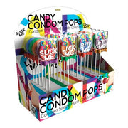 Candy Condom Pops Candy Shape Lollipops With Assorted Sayings And Color Bow 24 pc. Assorted