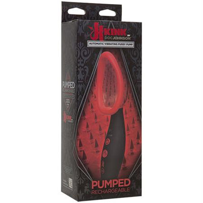 Kink - Pumped - Rechargeable Vibrating Sucking Vagina Pump Black-Red
