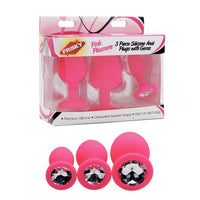 Frisky Pink Pleasure 3 Pc Silicone Anal Plugs W- Gems