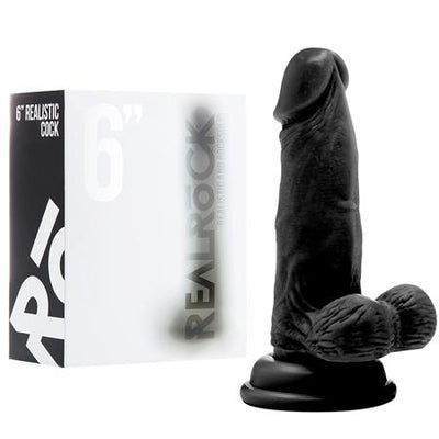 RealRock Realistic Cock - 6in - With Scrotum - Black
