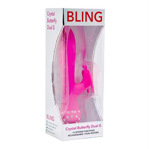 Bling Crystal Butterfly Dual G Vibe 12 Function USB Magnetic Rechargeable Silicone Waterproof Pink