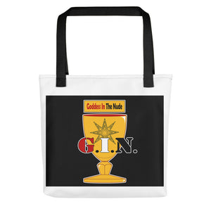 GINHOLYDEN.COM / G.I.N. : Goddess in the Nude Tote bag