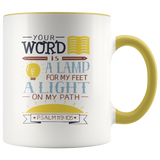 Your Word is A Lamp For My Feet Scripture Mug Psalm 119:105