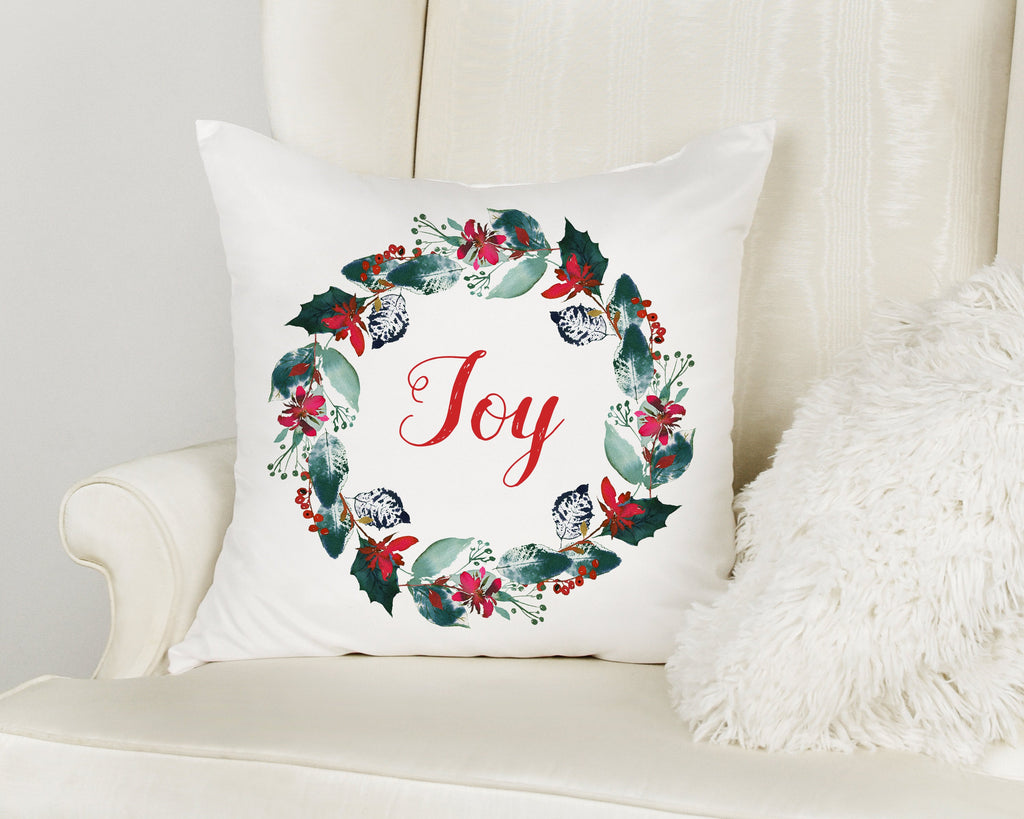 JOY Christmas Wreath Throw Pillow with Insert Option