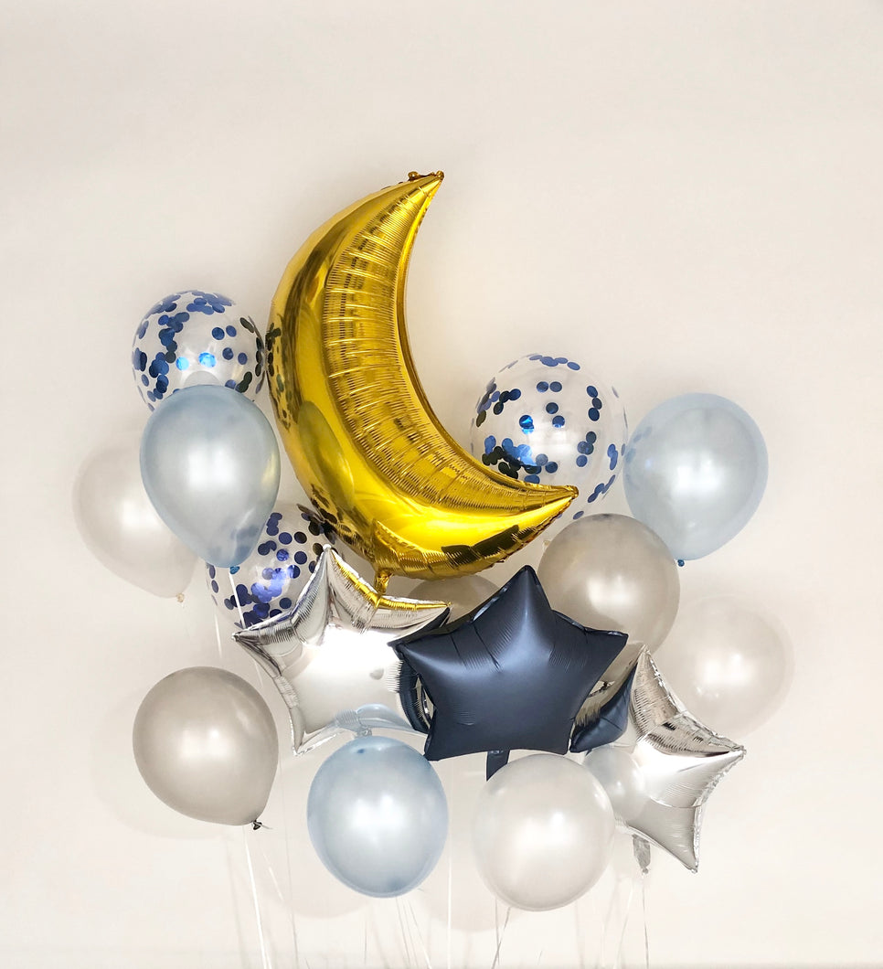 Sweet Moon 16 Piece Moon and Star Balloons Bouquet - Baby Shower, Birthday, Gender Reveal, Eid, and Ramadan Party Decoration (Blue)