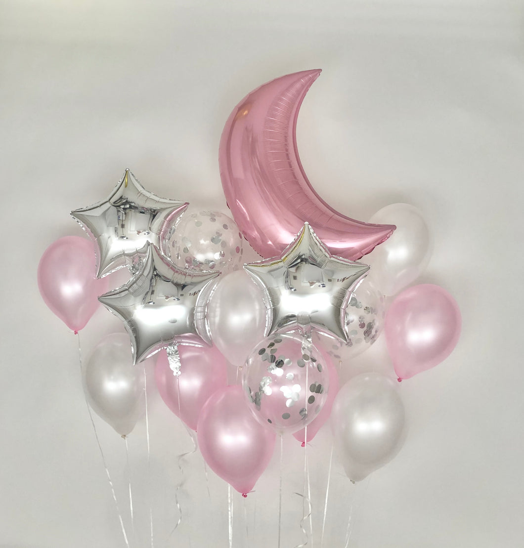 Sweet Moon 16 Piece Moon and Star Balloons Bouquet (Pink)