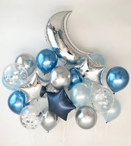 Sweet Moon 24 Piece Moon and Star Balloons Bouquet - Baby Shower, Birthday, Gender Reveal, Eid, and Ramadan Party Decoration (Metallic Blue)