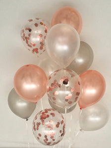 Sweet Moon 12 Piece Latex Balloons Bouquet - Baby Shower, Bridal Shower, Eid, and Ramadan Party Decoration (Rose Gold)
