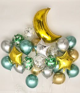 Sweet Moon 24 Piece Moon and Star Balloons Bouquet (Metallic Green)