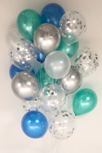 Sweet Moon 24 Piece Moon and Star Balloons Bouquet (Blue & Green)