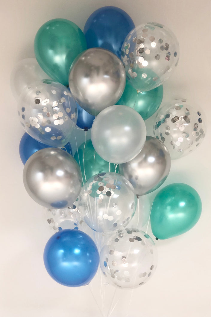 Sweet Moon 20 Piece Latex Balloons Bouquet - Baby Shower, Birthday, Gender Reveal, Eid, and Ramadan Party Decoration (Blue & Green)