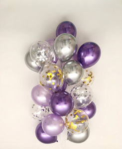 Sweet Moon 24 Piece Moon and Star Balloons Bouquet (Purple)