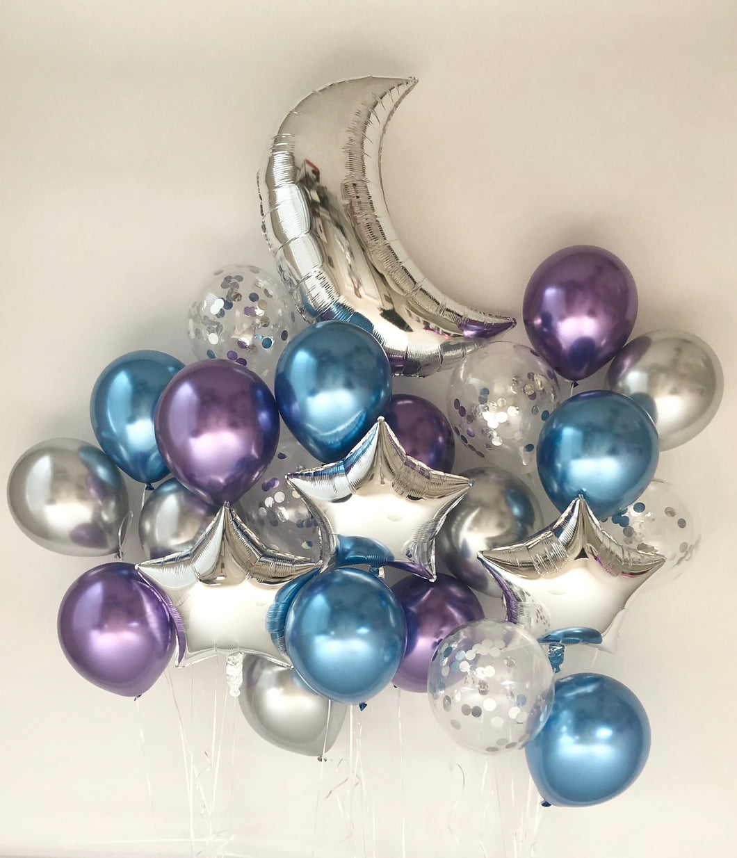 Sweet Moon 24 Piece Moon and Star Balloons Bouquet (Blue & Purple)