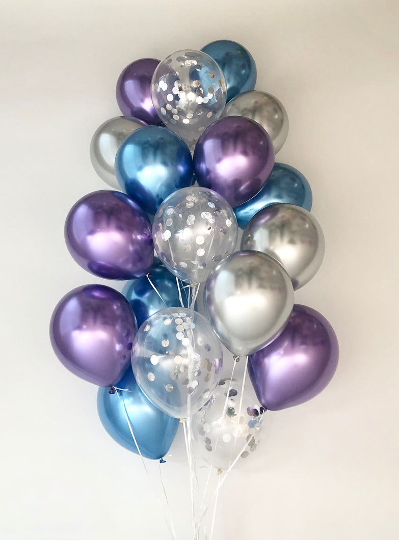 Sweet Moon 20 Piece Latex Balloons Bouquet - Baby Shower, Birthday, Gender Reveal, Eid, and Ramadan Party Decoration (Blue & Purple)