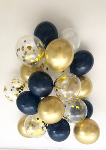 Sweet Moon 24 Piece Moon and Star Balloons Bouquet (Navy Blue)