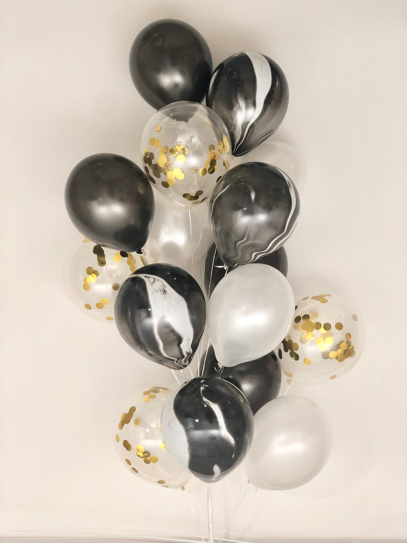 Sweet Moon 16 Piece Latex Balloons Bouquet - Baby Shower, Bridal Shower, Eid, and Ramadan Party Decoration (Black Agate Marble)