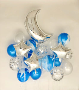 Sweet Moon 20 Piece Crescent and Star Balloons Bouquet (Blue Agate Marble)