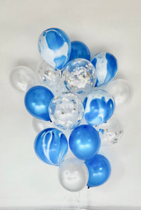 Sweet Moon 20 Piece Moon and Star Balloons Bouquet - Baby Shower, Bridal Shower, Birthday, Eid, and Ramadan Party Decoration (Blue Agate Marble)