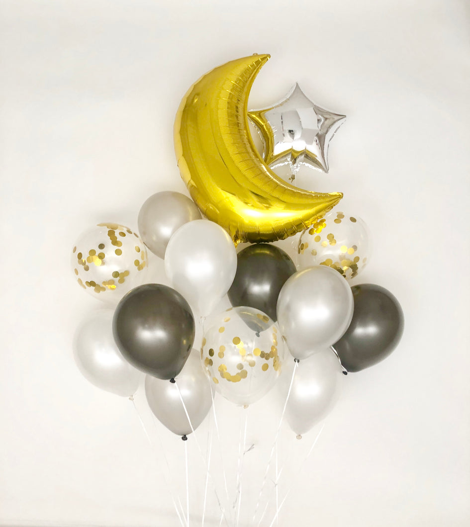 Sweet Moon 14 Piece Ramadan, Eid and Hajj Party Crescent and Star Balloons Bouquet (Black)