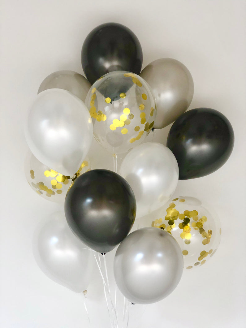 Sweet Moon 12 Piece Latex Balloons Bouquet - Baby Shower, Bridal Shower, Eid, and Ramadan Party Decoration (Black)