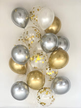 Load image into Gallery viewer, Sweet Moon 24 Piece Moon and Star Balloons Bouquet - Baby Shower, Birthday, Gender Reveal, Eid, and Ramadan Party Decoration (Metallic Gray)