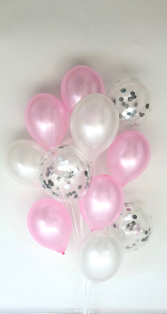 Sweet Moon 12 Piece Latex Balloons Bouquet - Baby Shower, Bridal Shower, Eid, and Ramadan Party Decoration (Pink)