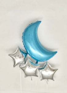 Sweet Moon 16 Piece Moon and Star Balloons Bouquet (Baby Blue)