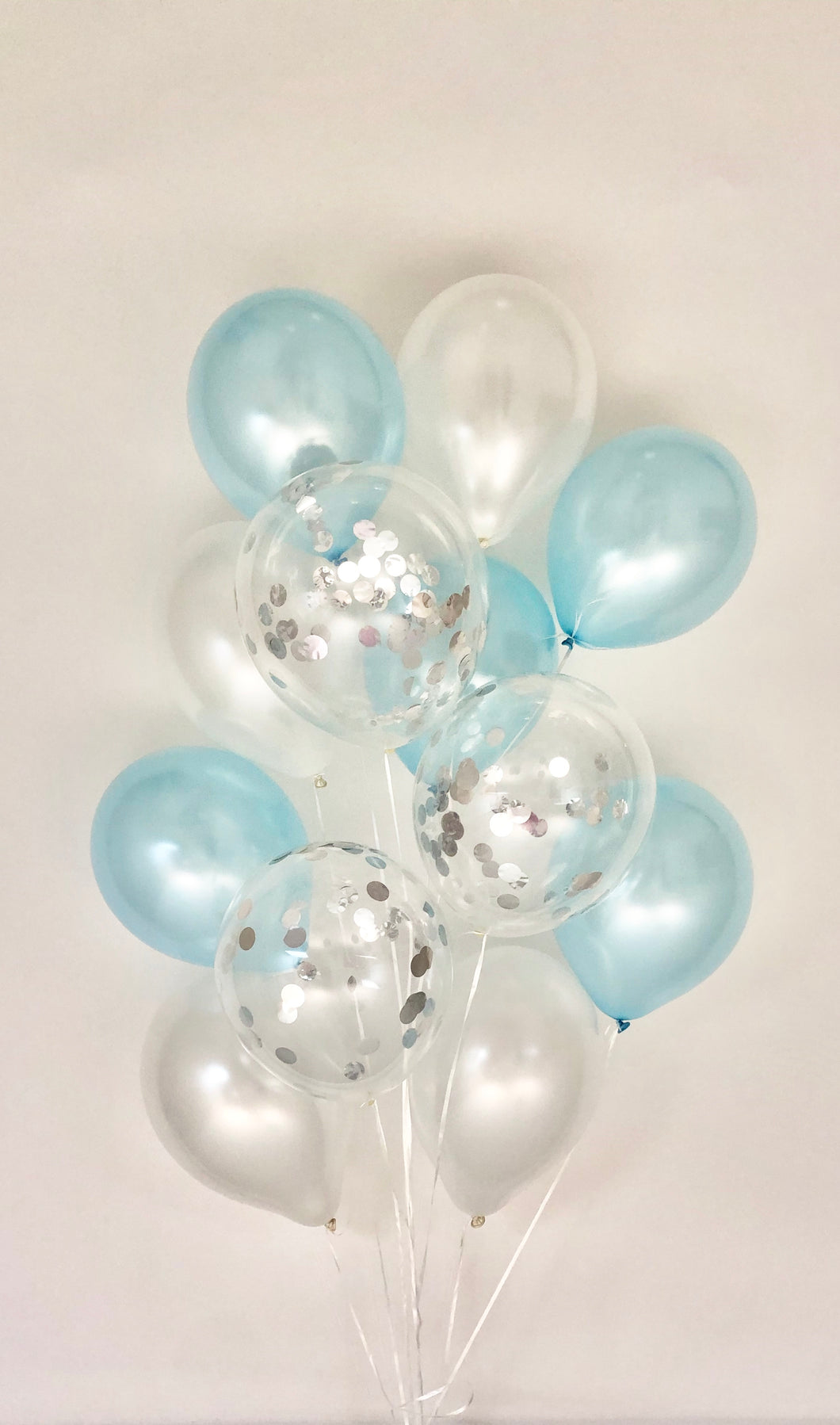 Sweet Moon 12 Piece Latex Balloons Bouquet - Baby Shower, Birthday, Gender Reveal, Eid, and Ramadan Party Decoration (Baby Blue)