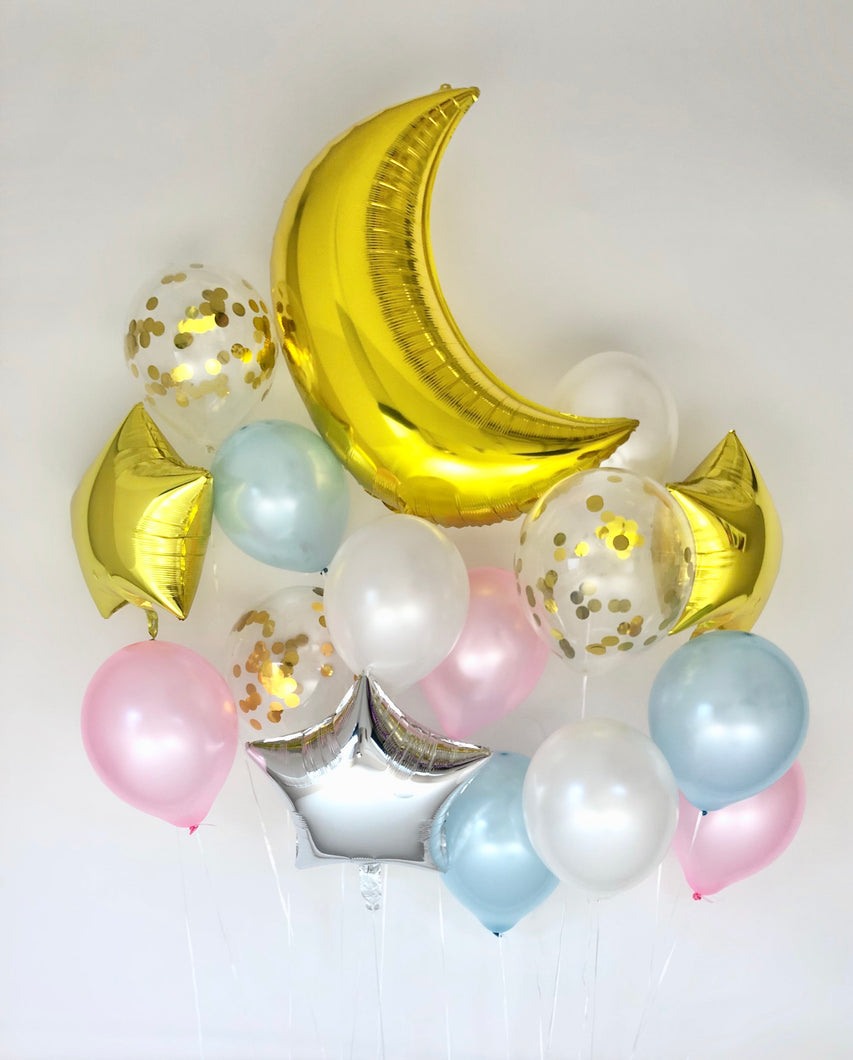 Sweet Moon 16 Piece Moon and Star Balloons Bouquet - Baby Shower, Birthday, Gender Reveal, Eid, and Ramadan Party Decoration (Blue & Pink)