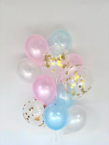 Sweet Moon 12 Piece Gender Reveal Latex Balloons Bouquet (Blue & Pink)
