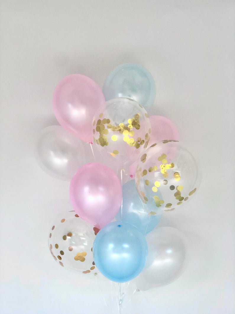 Sweet Moon 16 Piece Latex Balloons Bouquet - Baby Shower, Bridal Shower, Eid, and Ramadan Party Decoration (Blue & Pink)