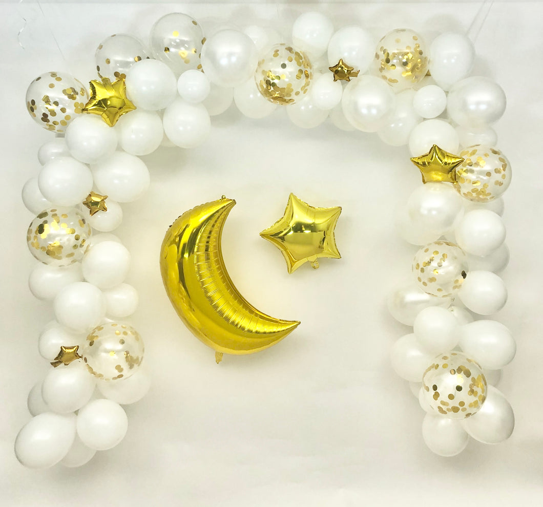 Sweet Moon 16-Feet Crescent and Star Balloon Garland Set- Baby Shower, Birthday, Bridal Shower. Eid, and Ramadan Decoration (White)