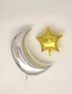 Sweet Moon 2 Piece Crescent and Star Balloons - Ramadan, Eid, Hajj, Pajama, Babyshower, Birthday Party (Silver & Gold)