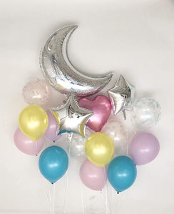 Sweet Moon 16 Piece Moon and Star Balloons Bouquet (Dream Set)
