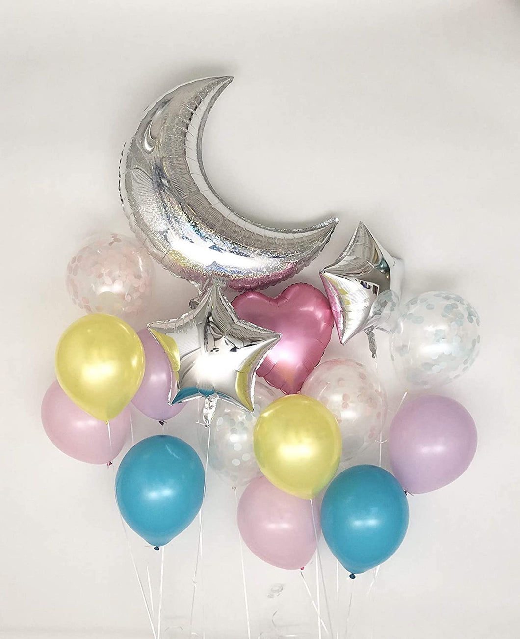 Sweet Moon 16 Piece Moon and Star Balloons Bouquet - Baby Shower, Gender Reveal, Bridal Shower, Eid, and Ramadan Decoration (Dream Set)