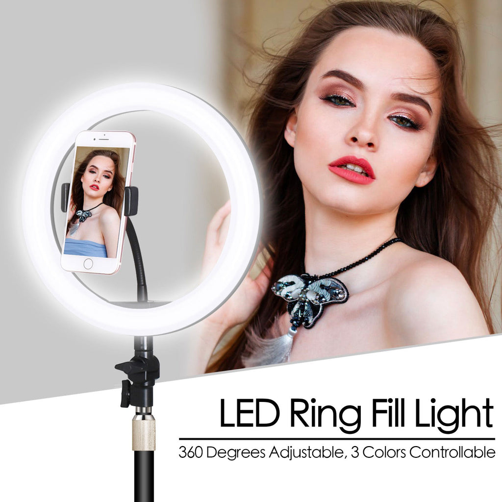 【 Free Shipping 】🔥Hottest High-end Professional LED Ring Fill Light Dimmable Studio With Cell Phone Holder