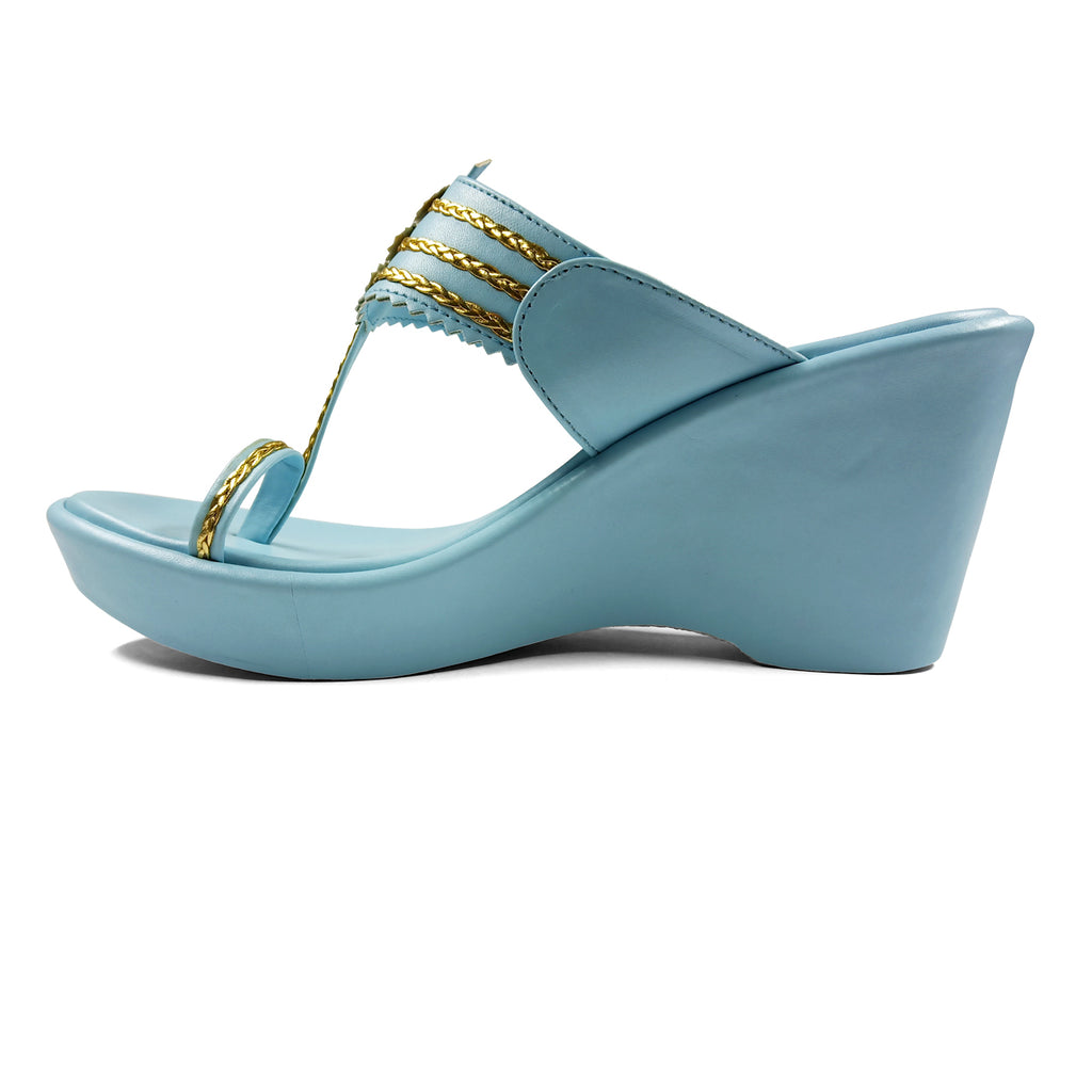 CONSTELLATION SKY BLUE KOLHAPURI WEDGES