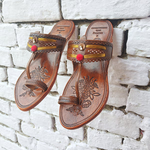 Tan Handcrafted Kolhapuris With Zari