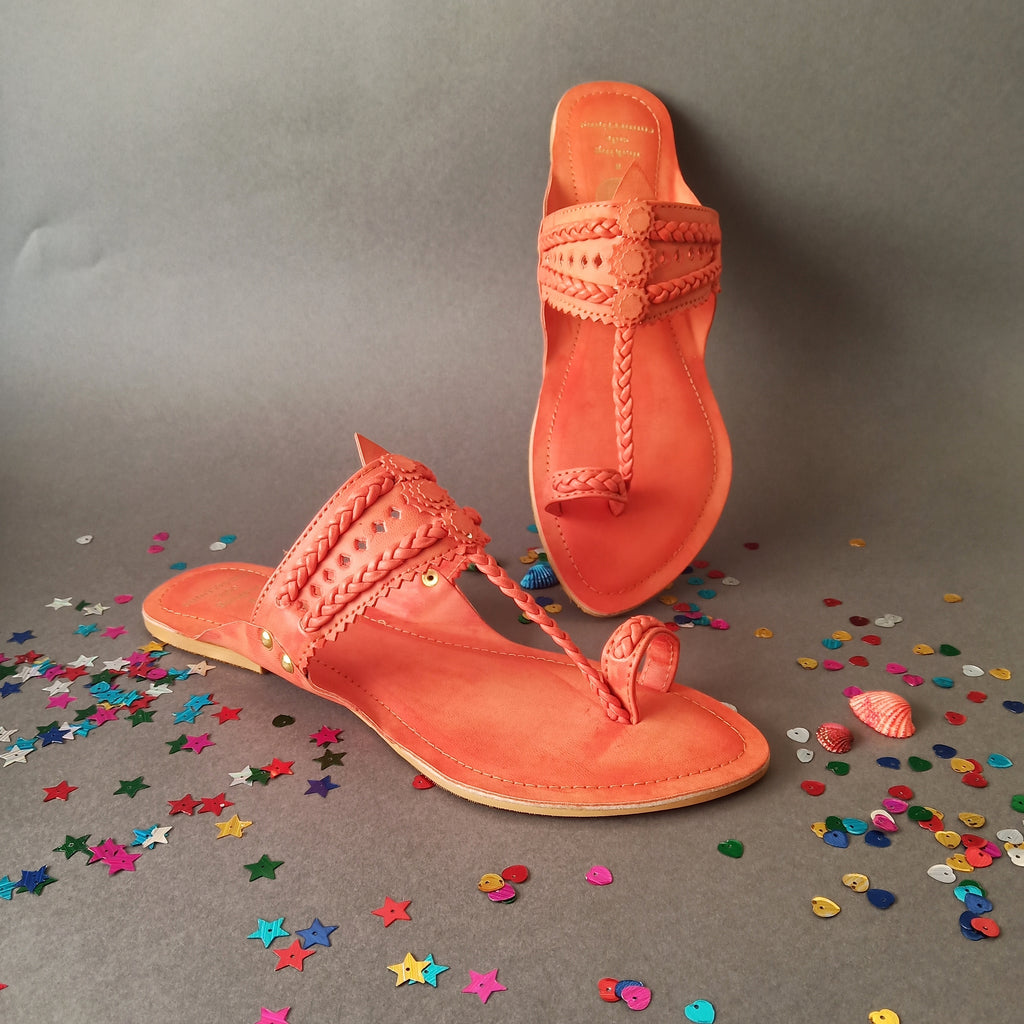 orange color  kolhapuri chappal non leather handmade front view facing downwards flats