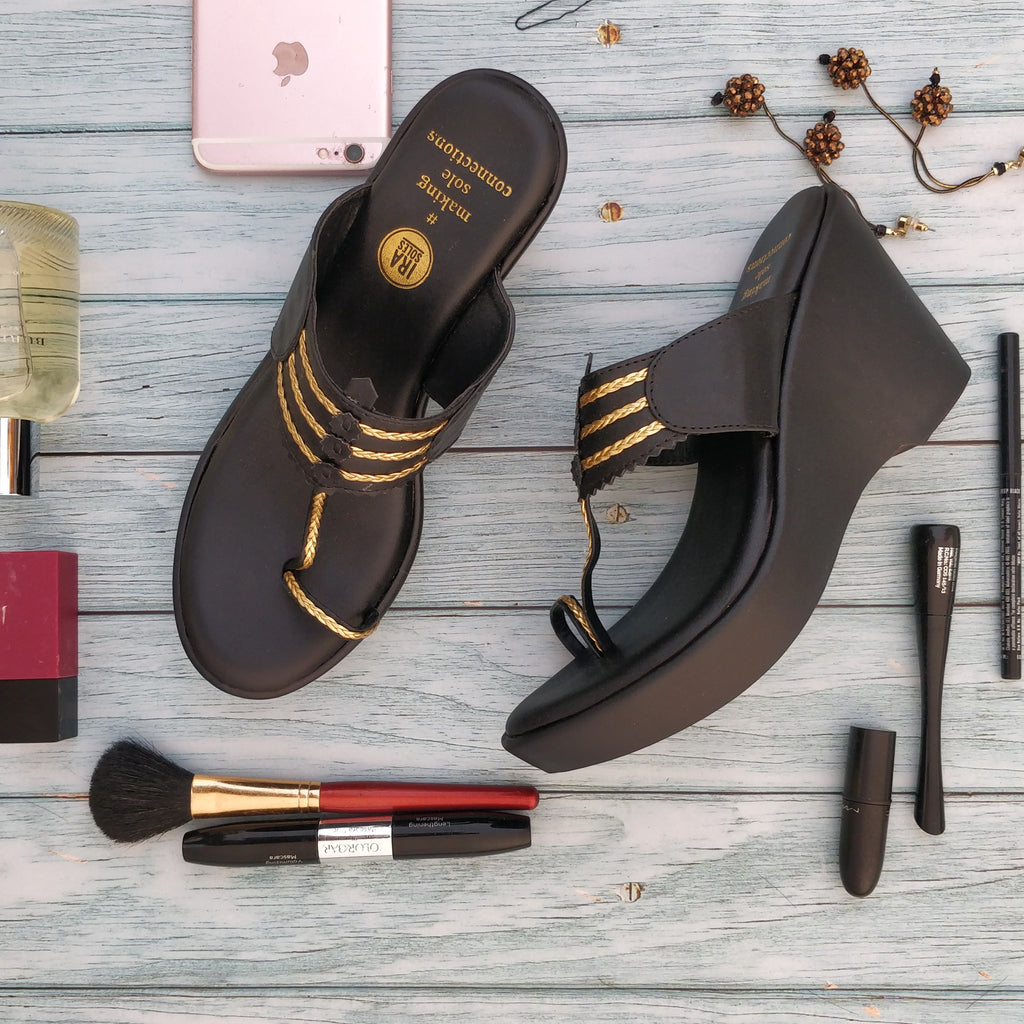 CONSTELLATION BLACK KOLHAPURI WEDGES