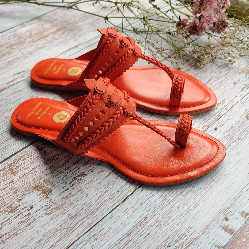 Burnt Orange Faux Leather Kolhapuris